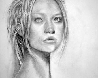 Pencil portrait of Gemma Ward, original