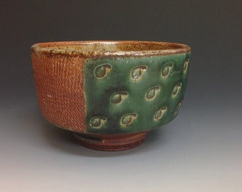 Soup. Cereal. Oatmeal Bowl with Dark Green Glaze and Leaf Stamps.  Stoneware Clay.