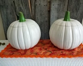 Ceramic White Pumpkin with green stem on lid 7.5 inches