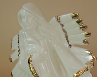 Nativity Tall Angel in parchment white trimmed with gold