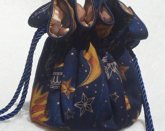 Celestial Jewelry Pouch, Travel Organizer in sun and moon