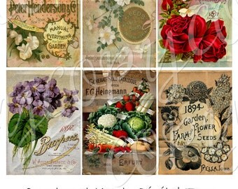 Instant Download  - Altered Vintage Seed Packets - ACEO - Digital Download - Printable  Digital Collage Sheet