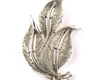 Lisner Silver Leaf Brooch Pin