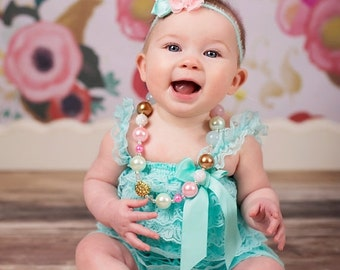 SALE Baby Lace Romper Headband Necklace SET, Light Pink and Teal  Aqua and Gold Petti Romper And Baby Headband, Baby Outfit, Baby Photo Prop