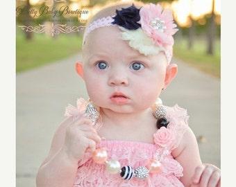 SALE Baby Headband in Pink and Black .Newborn Headband..Vintage Inspired Pink Black Cream Headband..Infant Headband....Baby Headbands