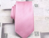 Mens Ties Pink Stripes Skinny Necktie