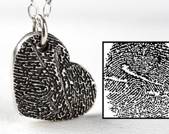 Fingerprint Necklace Heart Inkprint Custom Jewelry Thumbprint in Sterling Silver Personalized