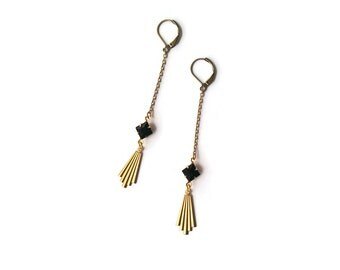 Black and Gold Earrings with Art Deco Drops - Vintage Jewelry - Geometric - Chain - Long Earrings - Scorsese Earrings (SD1121)