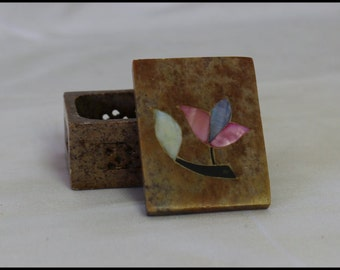 Small Square Soapstone Mother of Pearl Trinket Jewel Box Gifts for Her Birthday Gifts House Warming Gifts