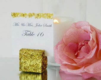 Place Card Holder + Gold Glitter Cube Place Card Holder- Set of 10 w/FREE SHIPPING