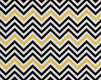 Remix Metallic Small Chevron Ebony Robert Kaufman - Cotton Quilting Fabric - 1 Yard