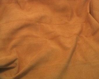 SUEDE MUSTARD GOLD cow hide Leather Piece #3