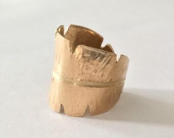 Brass Ring Adjustable Banana Leaf Golden Leaves