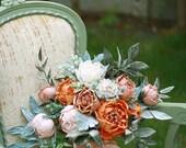 Wedding bouquet Sample Sale  - Heirloom Flowers Collection -Gemstones - Handmade pure silk flowers, velvet leaves