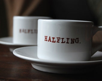 Halfling Set of 2 Espresso Cups and Saucers