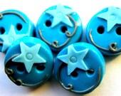 """Blue Stars 5 1/2"""" buttons"""