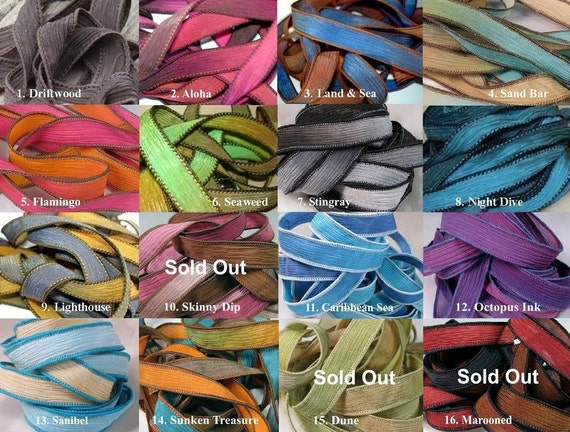 Hand Dyed Silk Ribbons, Extra Yoga Wrap Bracelet Replacement Fairy Crinkle Ribbons, Blue, Brown, Purple, Pink, Yellow, Red, Black, Turquoise