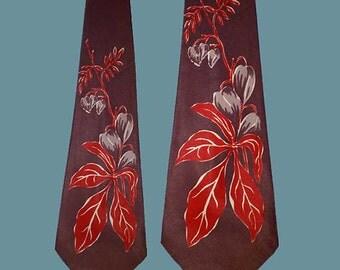 Vintage 40s Surreal Leaf Print Satin Twill Wide Tie