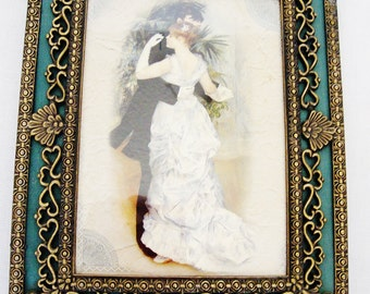 vintage picture frame victorian brass 5 by 7 inch ornate metal desk photo frame