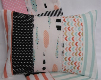 Feather Tribal Quilted Pillow Cover 12x16 Inches - Coral, Mint Green, Gold, Black and White, Polka Dots, Stripes, Aztec Nursery