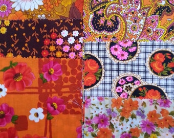 vintage fabric samples - 1970 fabric sample collection - ORANGE - 8 pieces