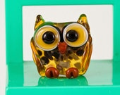 Fritty Topaz Owl Lampwork Bead