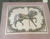 Vintage Cross Stitch Kit Summer Carousel Horse, Unopened Kit from 1991