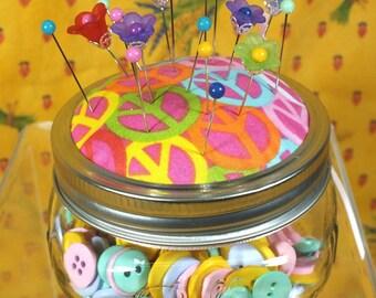 Mason Jar Pincushion with Pins and Buttons
