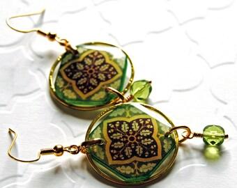 ivy tile earrings, sage green, resin earrings, hoop earrings, gifts under 20