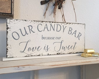 READY to SHIP, SALE, Candy Bar Sign, Love is Sweet, Wedding Signs, Bride and Groom Signs, Mr and Mrs Signs, 4 3/4 x 12