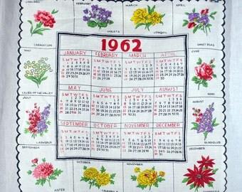 Vintage Calendar Hanky 1962 Flowers