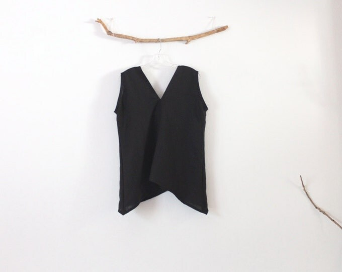 black linen sparrow top bust 40 inch room ready to wear /  black linen top / sleeveless top / linen tank top / linen vest