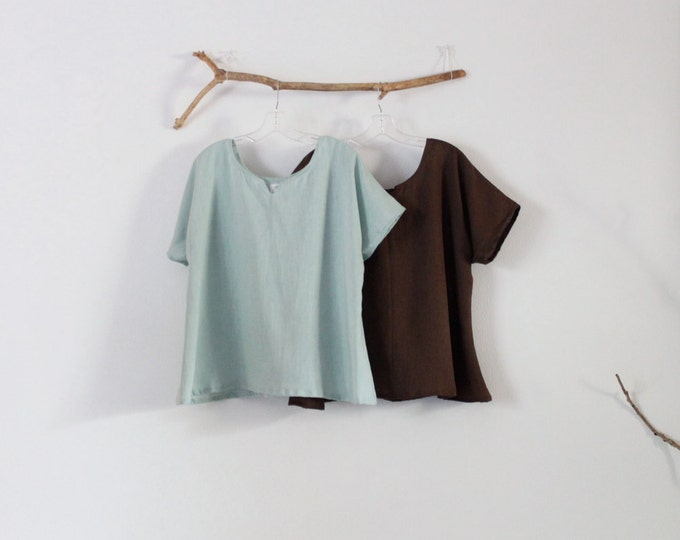 summer weight arty neckline linen mint and chocolate two tops size XS to 6XL made to order / summer linen top / crop top