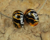 Glass Lampwork Beads, Pairs, Earring Beads, Tiger Stripes SRA #158 by CC Design