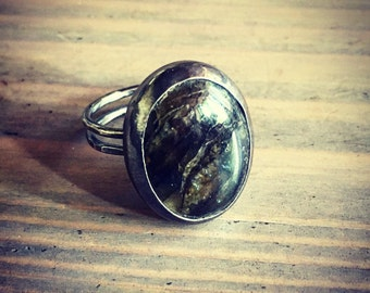 Labradorite Ring - 1970's Inspired Mood Ring - Sterling Silver Ready to Ship Size 5.75 - Cocktail Ring - Jennifer Cervelli Jewelry