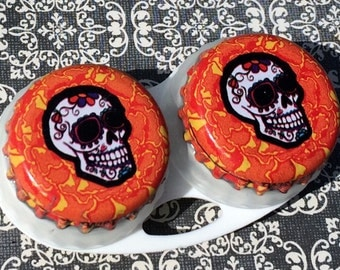 Sugat Skull Day of the Dead Orange Skeleton Punk Rock  Contact Lens Case Burlesque
