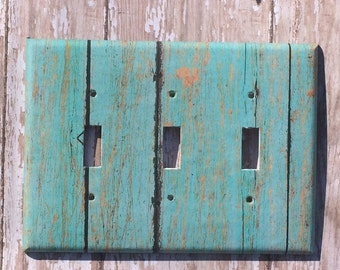 Switchplate Outlet Cover turquoise wood Triple Switchplate Quad