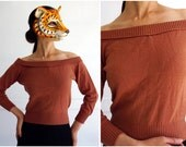 Vintage 50s Sexy Off the Shoulder Sweetheart Sweater by Hollywood Knitting Mills | Small/Medium