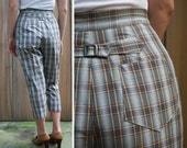 Vintage 50s Gray Plaid High Waisted Pedal Pushers by Leland of California | Small Medium