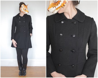 Vintage 60's Short Fitted Black Doublebreasted Peacoat | Small