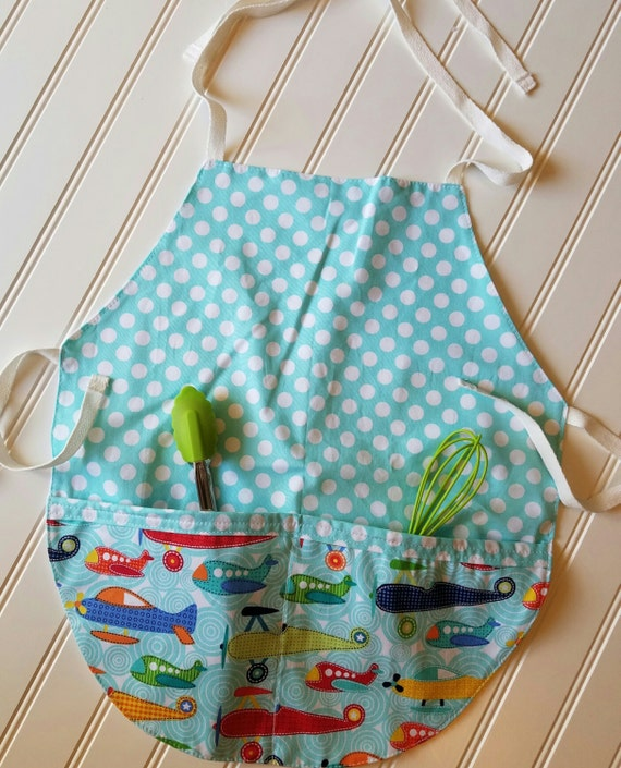 Kids-Aprons-Planes-Dots-Jets-Chef-Art-Cooking-Kitchen-Baking-Play-Dough-Summer-Garden-Back-To-School-Smocks-Holiday-Birthday-Toddler-Gifts