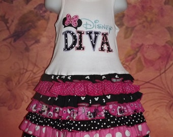 Disney Diva Polka Dots Tulle Ruffled T-Shirt Ribbed Tank Dress