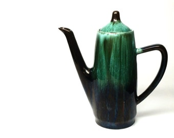 VTG Coffee Pot by Blue Mountain Pottery Canada- Green and Black Dripware Pottery