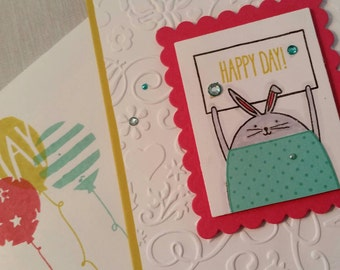 Happy Day Embossed Celebration Card with Bunny and Turquoise Rhinestones
