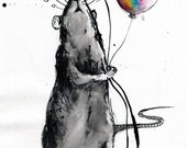 Ink drawing canvas A4 - Rat and a rainbow balloon - You are what you love, not who loves you