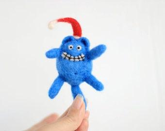 Felt Christmas ornament - needle felted playful kitty cat - blue cat with santa hat