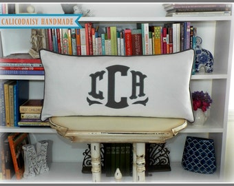 Large Applique Monogram Pillow Cover - 14 x 28 Lumbar