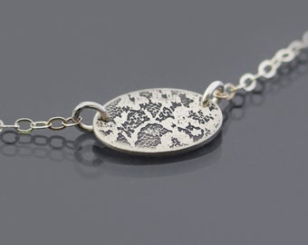 Tiny Etched Silver Oval Lace Necklace - elegant sterling silver by Lisa Hopkins Design