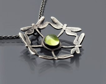 Dragonfly Peridot Necklace - Etched Sterling Silver - gemstone jewelry