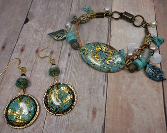 Turquoise Cabochon Bracelet- Resin Bracelet- polymer clay Bracelet- Statement Bracelet- Leather Boho Bracelet